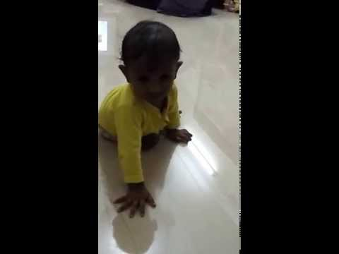 My son A R Nahul started crawling on his 11th month