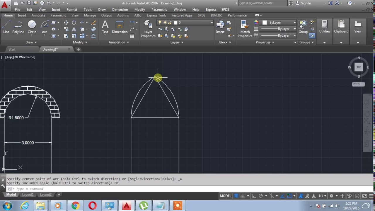 How to Design equilateral Arch on AutoCAD