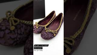Marc Jacobs, Purple Fur Animal Print Gold Chain Ballet Flats, Size 38