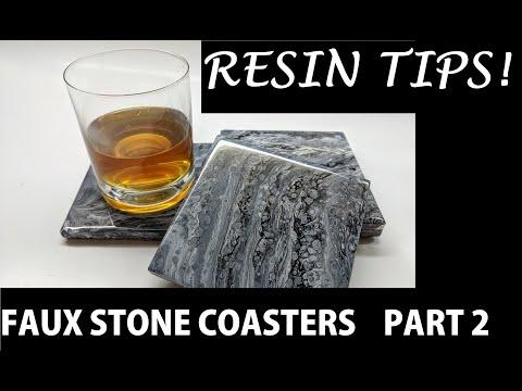 Faux Stone - DIY Acrylic Pour Ceramic Coasters - PART 2 RESIN TIPS