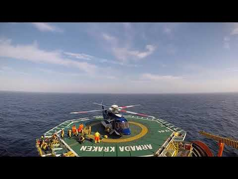 Heilcopter landing on an offshore FPSO (Armada Kraken)
