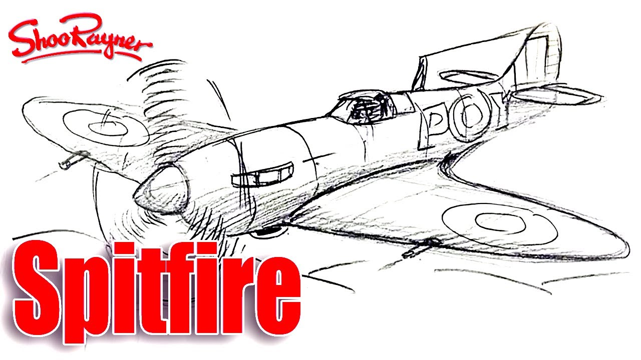 How To Draw A Ww2 Spitfire Realtime Tutorial Youtube