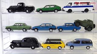 Many toy Russian cars