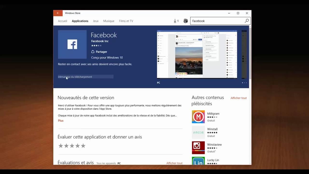 Comment installer lapplication Facebook sur PC Windows 10
