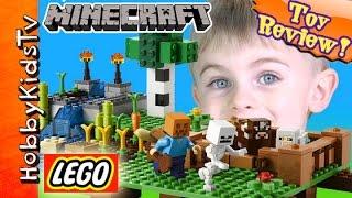 Lego Minecraft Farm Build! Cow + Sheep Fun by HobbyKidsTV
