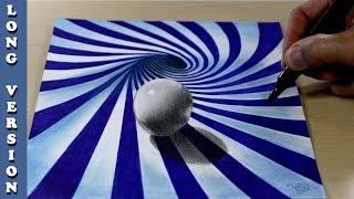 Ball in blue spiral, long version 3D Trick Art on Paper