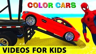 color sport cars transportation spiderman cartoon for kids w nursery rhymes songs for children