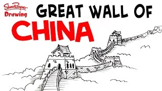 How to draw the great wall of china - easy step-by-step for beginners
