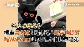 機車冒出貓掌!路人貼字條暖喊Wake up 網:趴車喵弟|寵物|貓咪|暖舉
