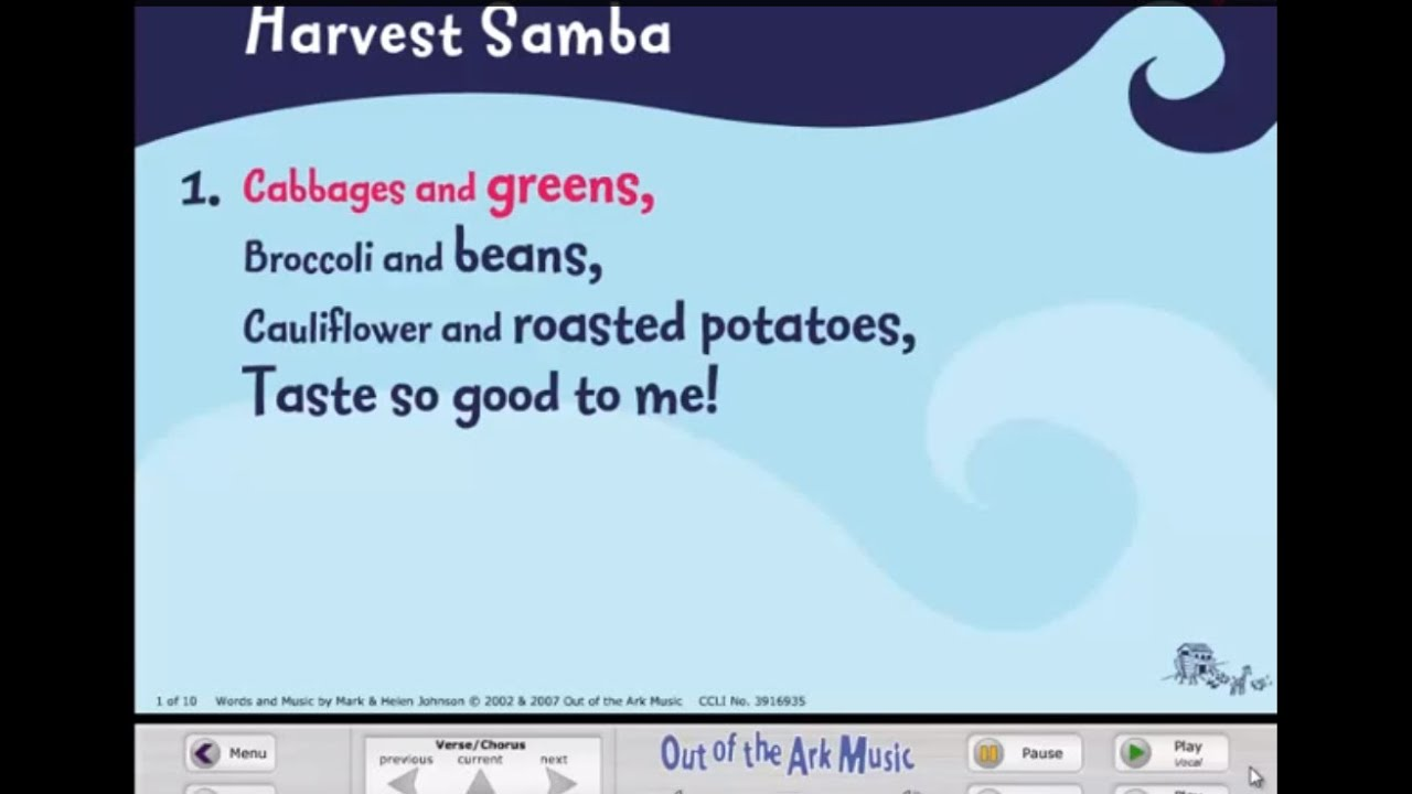 Harvest samba words on screen original school songs for Schoolhouse music