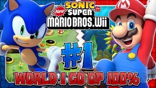 Sonic & Mario in New Super Mario Bros Wii - Co Op 100% - Part 1
