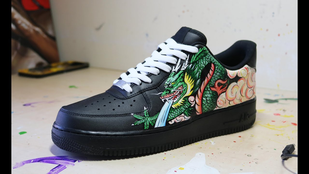 ✪ Painting a Dragon on a Nike AF1 - YouTube