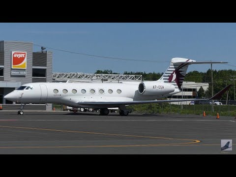 [4K] Qatar Executive Gulfstream G650 Crosswind Landing + Takeoff at YQB