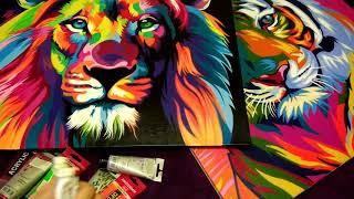 яРКИЕ КАРТИНЫ АКРИЛОМ в стиле ПОП АРТ! Яркие краски для картин!