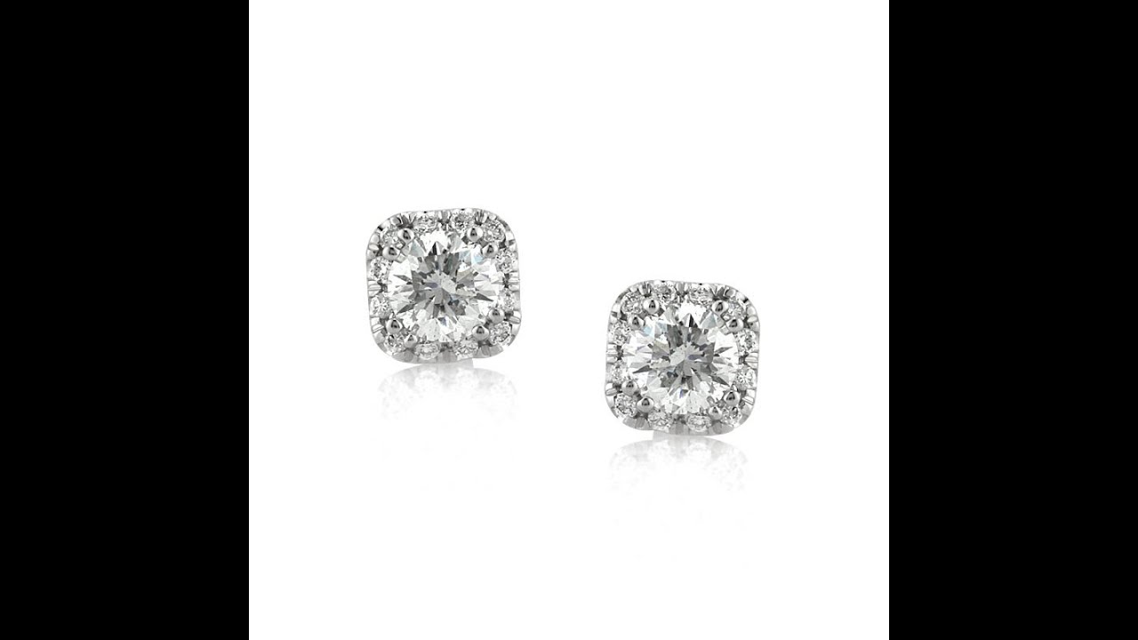 Mark Broumand 1 00ct Round Brilliant Cut Diamond Cushion Halo Stud Earrings
