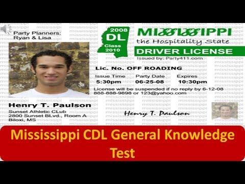 Mississippi CDL General Knowledge Test