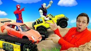 Игры гонки с Человеком Пауком - Прокачиваем машину для Супергероя! - Новое видео в Автомастерской.