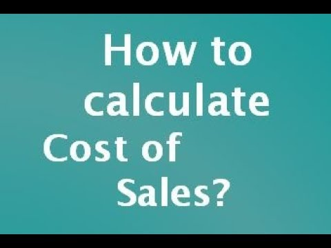 How to calculate Cost of Sales ? - YouTube