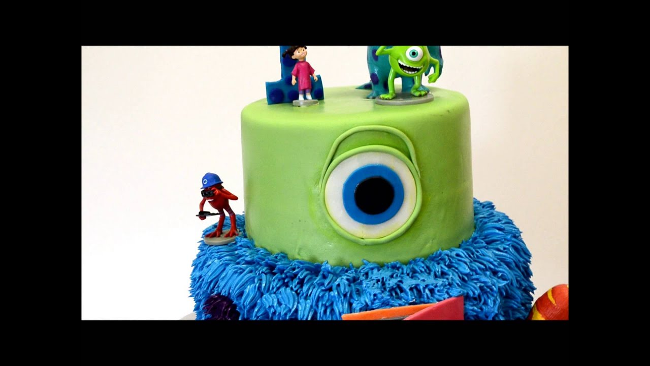 Monster Inc Movie Cake Custom Monster inc cake with figures YouTube