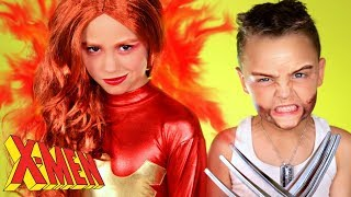 X Men Phoenix and Wolverine Costumes and Makeup