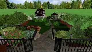 Ландшафтный дизайн участка вытянутой формы с уклоном 12 соток