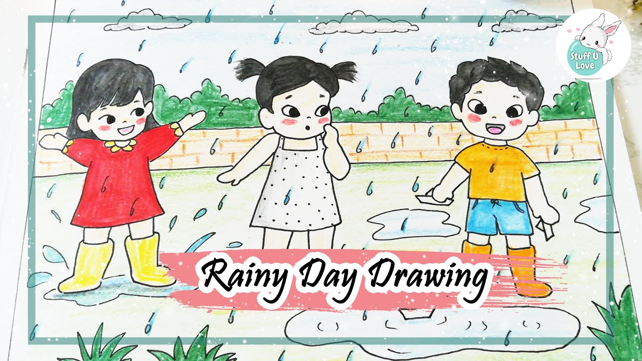 How To Draw Kids Playing In The Rain Easy Drawing For Kids