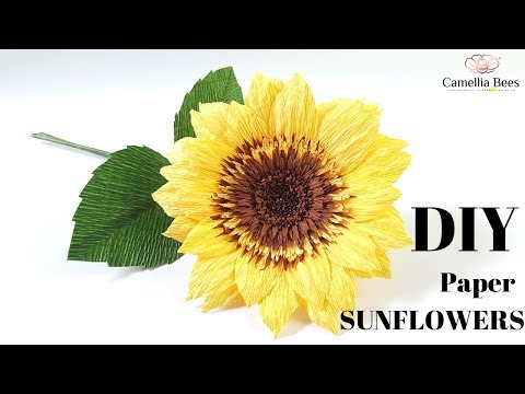 How to make paper sunflower from crepe paper- DIY Craft Tutorial