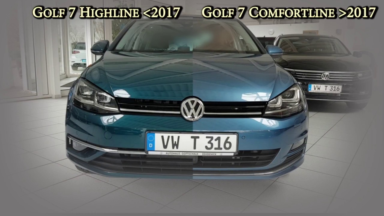 vw golf 7 update facelift ab 2017 highline dla led front vs golf comfortline 2017 mit xenon. Black Bedroom Furniture Sets. Home Design Ideas