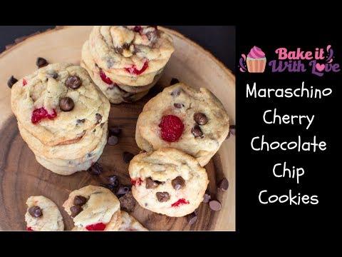 Maraschino Cherry Chocolate Chip Cookies | Bake It With Love