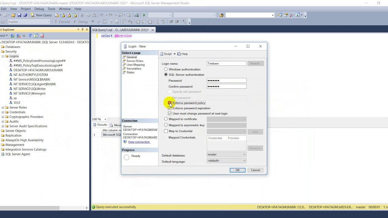 How to create SQL authentication login(user) in sql server 2014. - YouTube