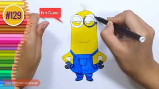How to draw a minion Dave Easy Drawing for Kids #130