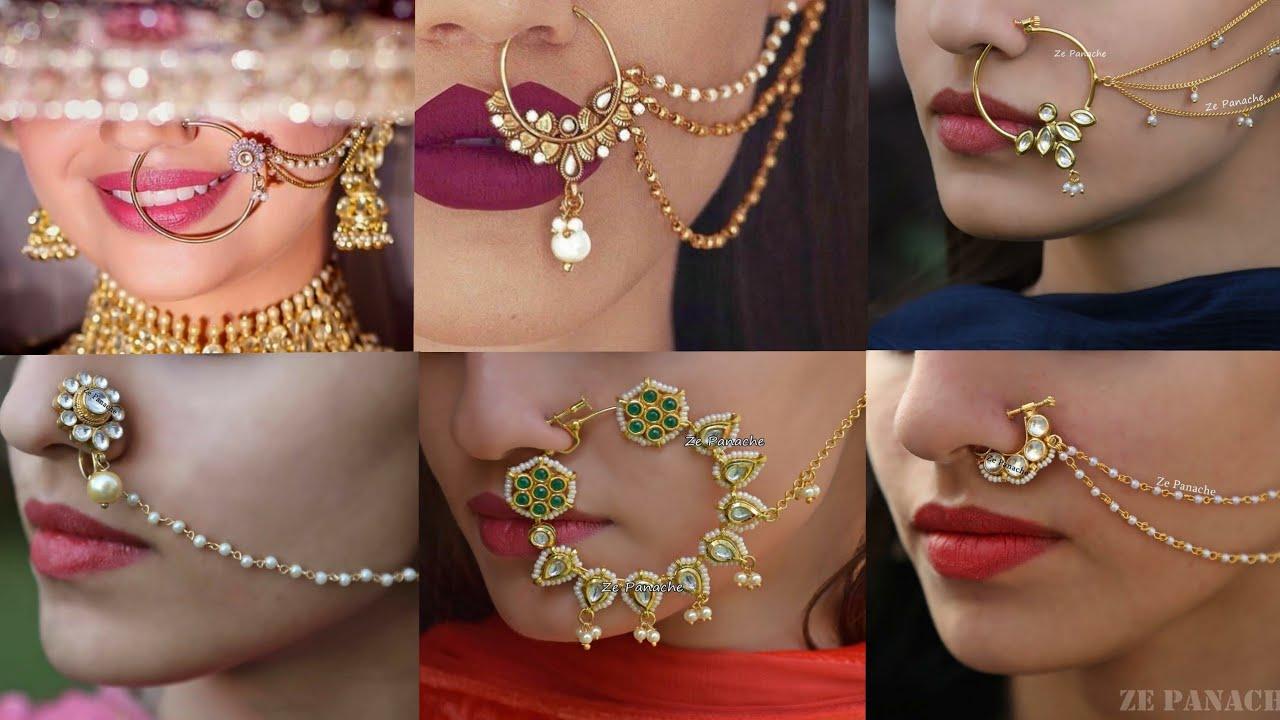 72abc33c218a Latest Bridal Nose Pin Nathiya Design 2018 | Beautiful Nath Design For  Brides