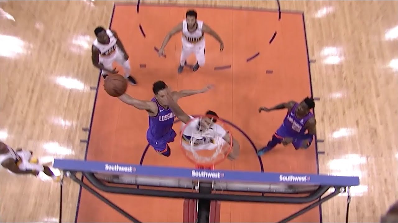 devin booker baptizes anthony davis with nasty one handed poster dunk