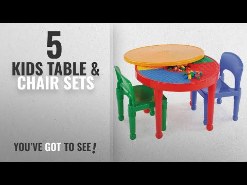 Kids Table & Chair Sets [2018]: Tot Tutors Kids 2-in-1 Plastic LEGO-Compatible Activity Table and 2