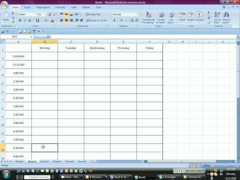 Time Management with Excel - YouTube - time table excel