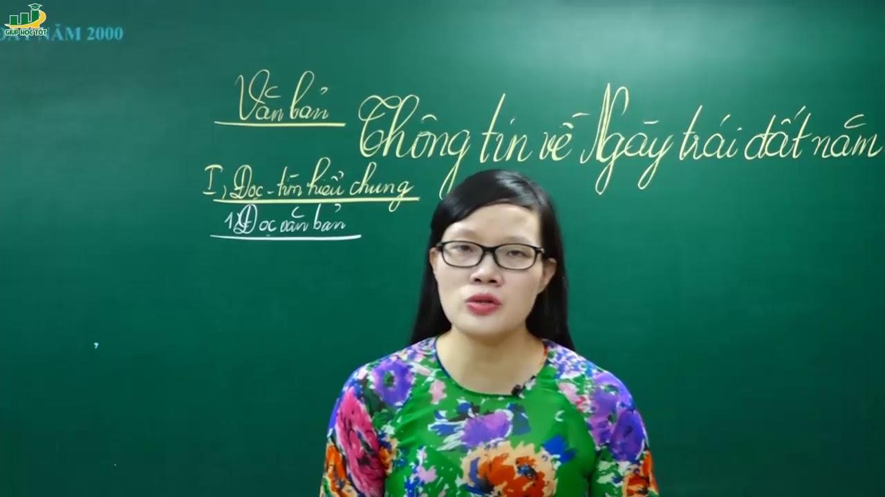 Ngữ Văn Lớp 8 – Bài giảng Thông tin về Ngày trái đất năm 2000 lớp 8 | Cô Lê Hạnh|
