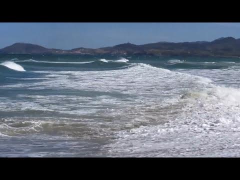 Huge Stormy waves on the Mediterranean Sea