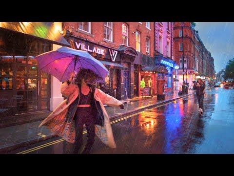 London Summer Evening Rain Walk - West End & Soho   4K   June 2021