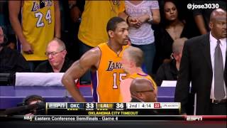 Metta World Peace / Russell Westbrook Get Tangled Up - Thunder @ Lakers 2012 NBA Playoffs
