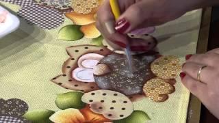 Pintura em tecido barrado corujas por Eliana Rolin Parte 2