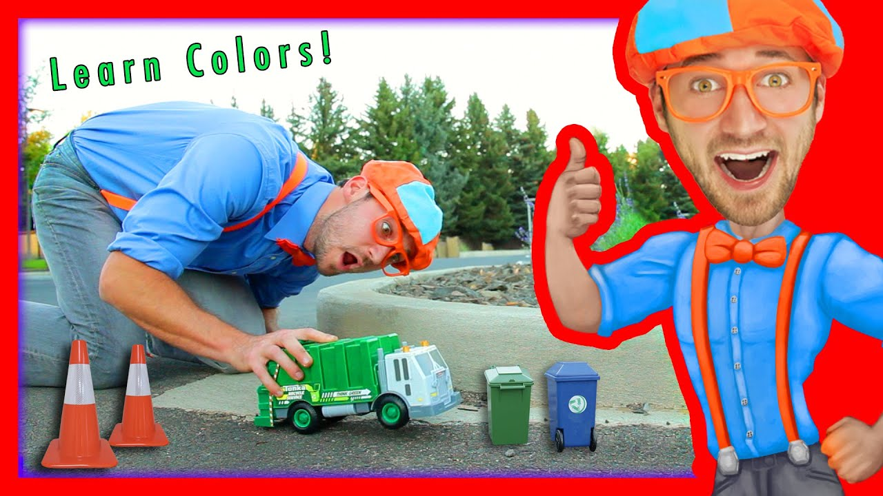 Learn Colors For Toddlers With Blippi Toys Garbage Truck