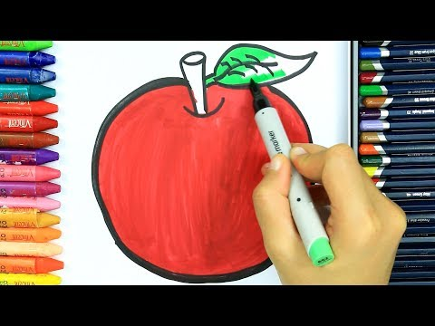 яблоко Раскраски 🍎   Как рисовать яблоко   Изучите окраску