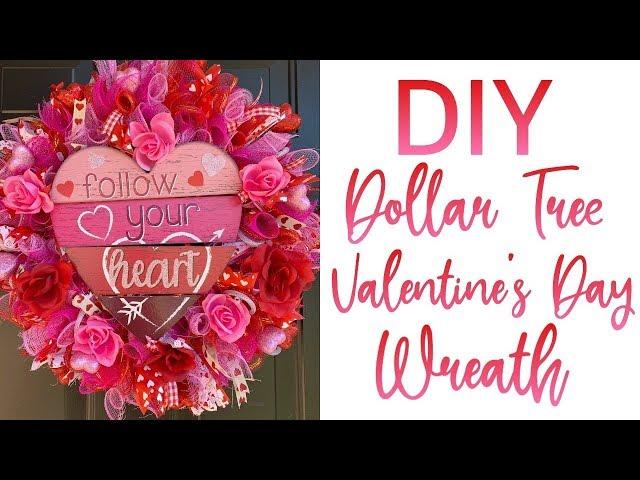 DIY DOLLAR TREE VALENTINE'S DAY WREATH