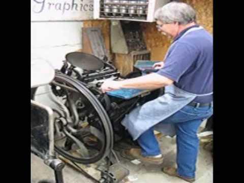 Old printing press in Kalona, Iowa