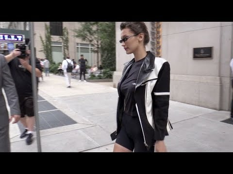 Model Bella Hadid running errands during the Fashion Week in New York City