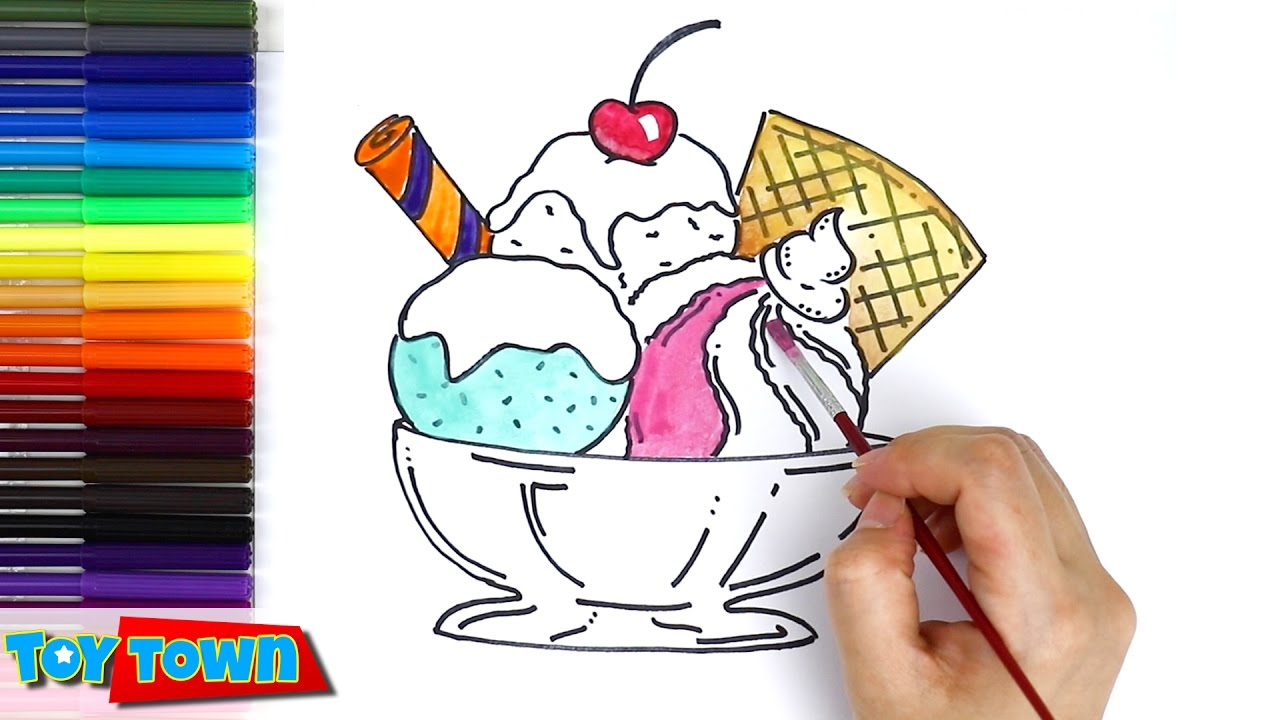 How To Draw Ice Cream Color Ice Cream Drawing For Kids Learning