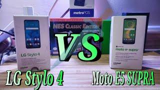 Moto E5 SUPRA Vs LG Stylo 4 Full Review comparison Cricket Wireless Cameras Screen Sound Build Price