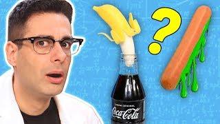 El Misterio de la Banana, la Coca Cola y la Salchicha Zombie   Experimento Curiosidades con Mike