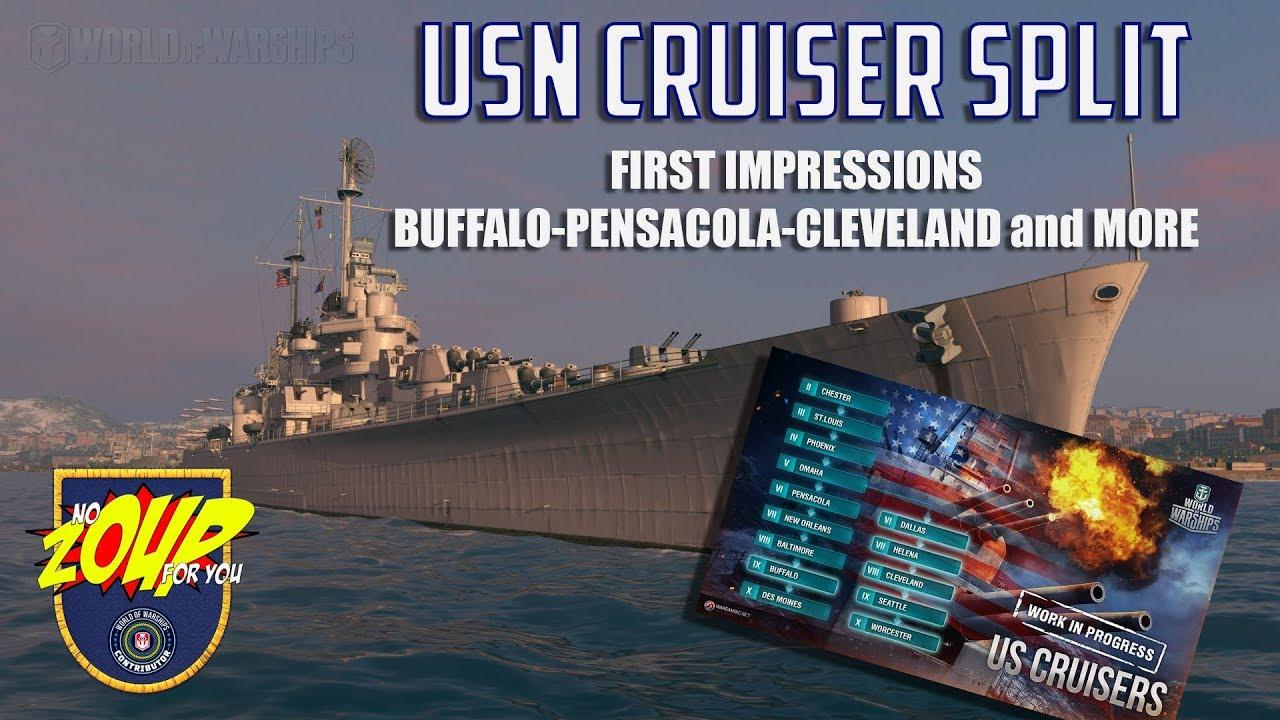 World of Warships USN Cruiser Tech Tree Split Preview