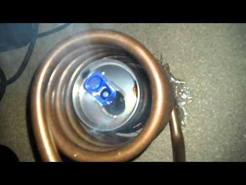 Induction Heating melting a Red Bull Energy Drink Aluminum can
